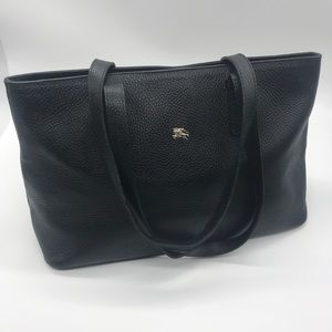 Burberry Black Pebbled Leather Tote Purse Handbag